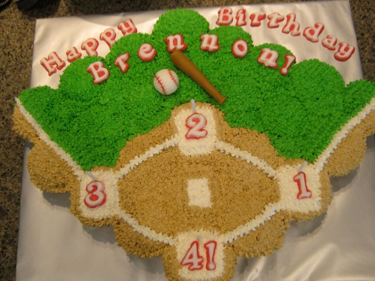 4th birthday Baseball cupcake cake--- I would take the #'s off the bases