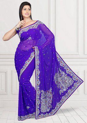 Appealing Purple Color Chiffon Indian Saree MPS929. Sale : $155.00