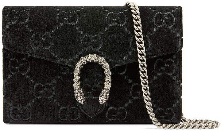 718e5508e3f Gucci Dionysus Velvet GG Supreme Wallet On Chain