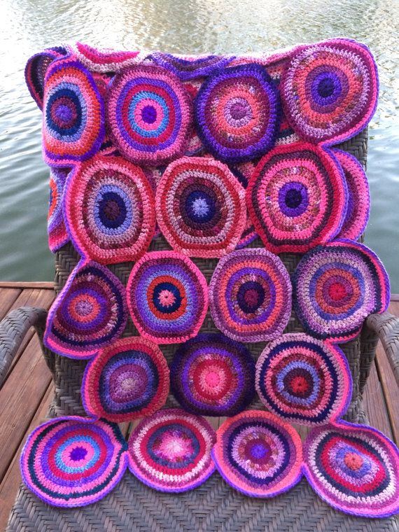 Fun wool throw hand crocheted with soft by evelynWpolitzerKnits $ 400.00