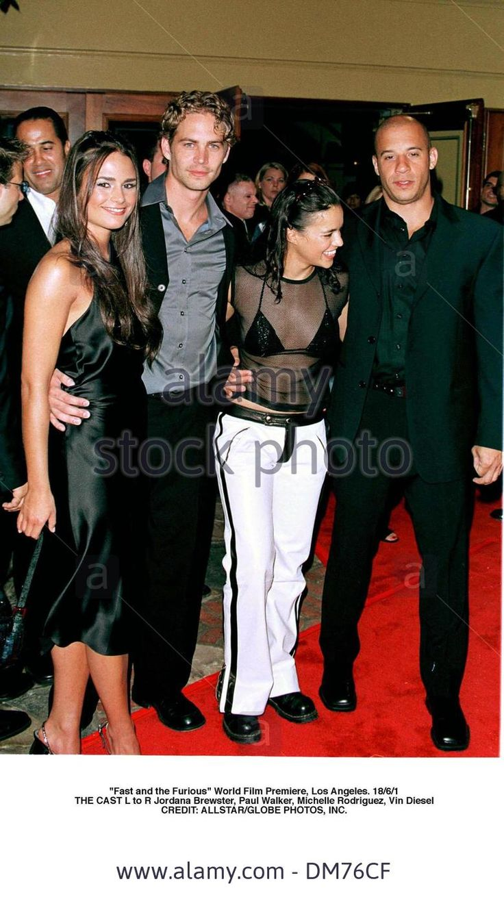 June 18, 2001 - Scarborough, North Yorkshire, England - ''Fast and the Furious'' World Film Premiere, Los Angeles. 18/6/1.THE CAST L to R Jordana Brewster, Paul Walker, Michelle Rodriguez, Vin Diesel.CREDIT:(Credit Image: © Globe Photos/ZUMAPRESS.com) Stock Photo