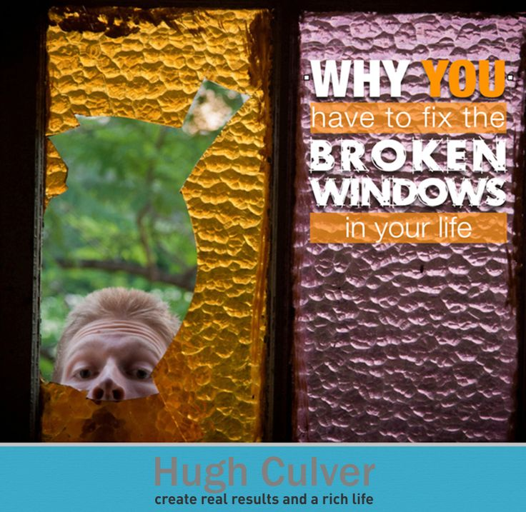 The broken window theory was developed in the 1960's by Philip Zimbardo, a Stanford psychologist. It's simply a theory that states one bad thing attracts more bad things to happen. And you know what? I believe we have our own broken windows. When you have something unfinished in your life it excuses more of the same happening. Learn more about this from my blog! Original Photo: Flickr | Damien Ayers
