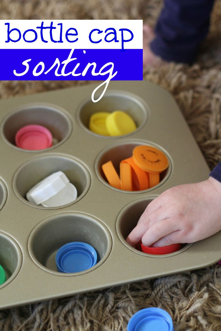 Recycle those bottle caps and turn them into a sorting activity!  Great for cognitive development and color recognition.
