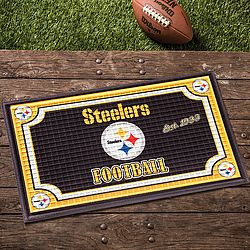 NFL Embossed Door Mat: Show everyone which team you support before they even set foot inside your door! Textured 80/20 rubber/polyester mat…