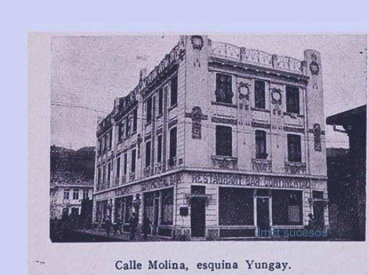 Valparaiso. Panorámica de la intersección Calles Molina esq. Calle Yungay, 1909