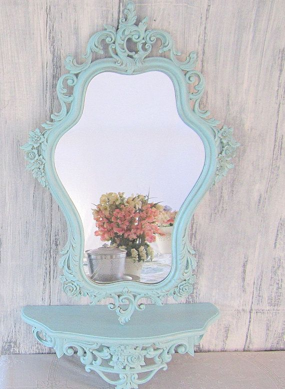 """Shabby Chic Mirror For Sale FRENCH COUNTRY Home MIRROR For Sale Vintage Framed 29""""x19"""" Teal Blue Ornate Baroque Mirror Decorative. $154.00, via Etsy."""