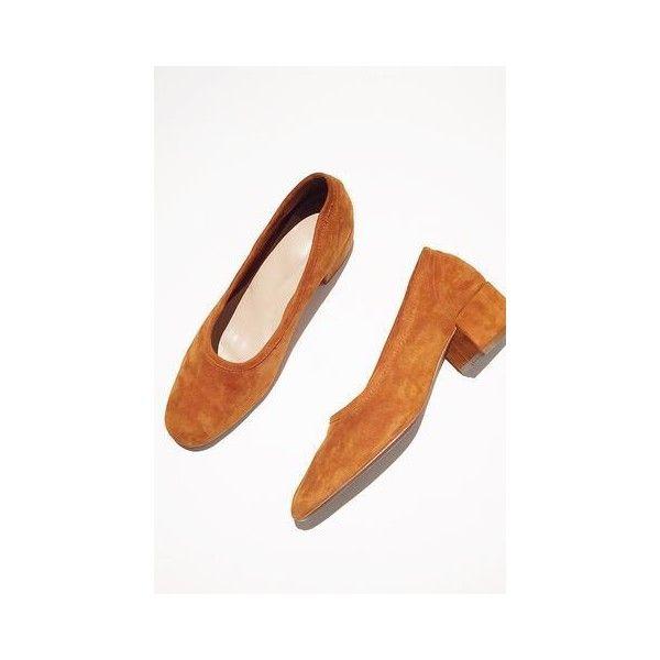 Suede Low Heel Pump ($178) ❤ liked on Polyvore featuring shoes, pumps, deep orange, low pumps, heel pump, orange pumps, mid-heel shoes and orange mid heel shoes