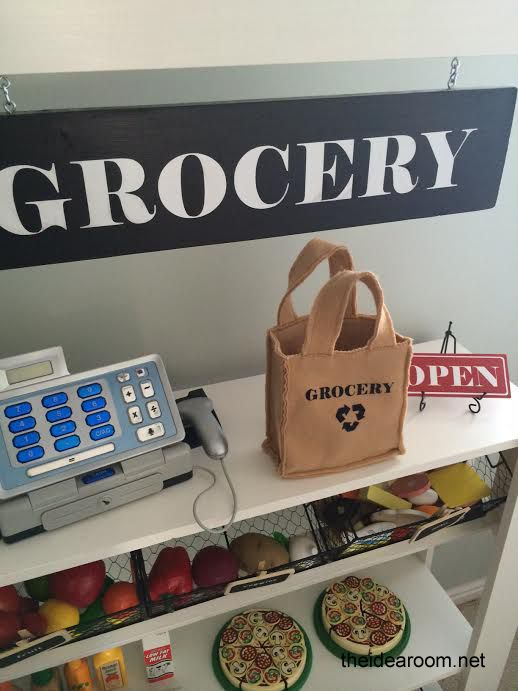 Make a simple but fun Grocery Stand for the kids or your classroom   theidearoom.net