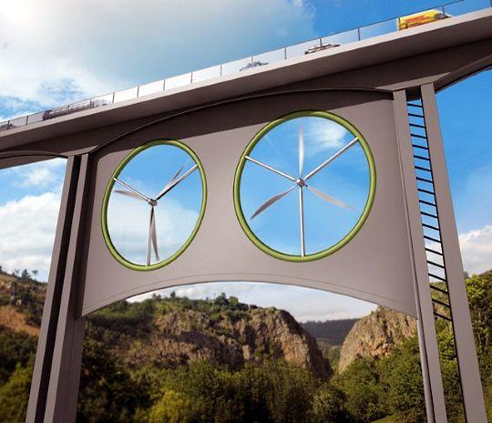 Aproveitamento de energia eólica em pontes e viadutos.