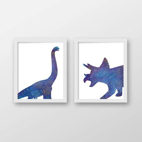 Dinosaur Galaxy Art Print Set of 2 - Children's Wall Art - Toddler Room Decor - Dinosaur Art