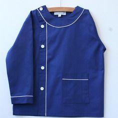 Tablier/blouse écolier ou activités 3 ans et 5 ans en coton bleu marine