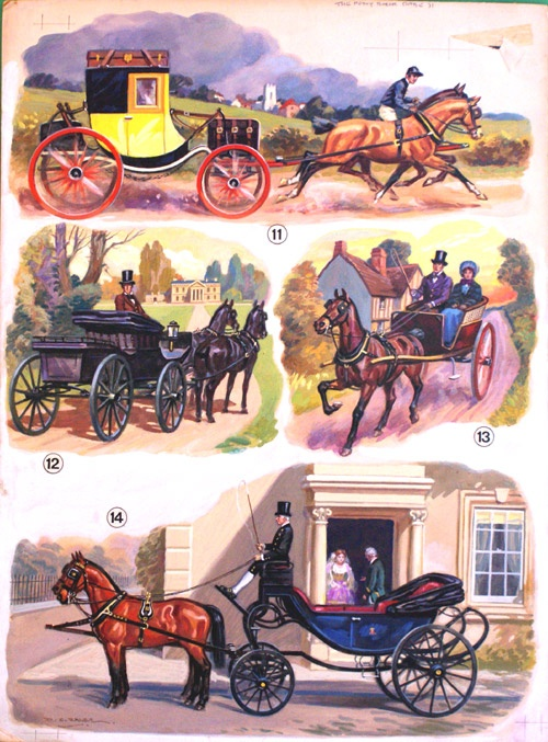 A four image board showing horse drawn carriages of various styles used in the 19th Century. Types include a barouche a calash a landau and a pony and trap, by Derek Eyles for The Pony Book