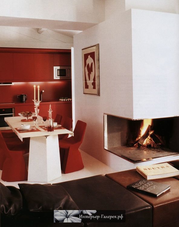 """Квартира-сьют при парижском отеле """"Кост"""", авторский дизайн-проект, интерьер в современном стиле, эксклюзивный декор и мебель из французских галерей. Стильные европейские интерьеры, проекты известных дизайнеров. Красно-белый интерьер квартиры"""