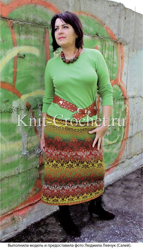 """Женская юбка с узором """"Дамаск"""" размера 50-52, связанная на спицах."""