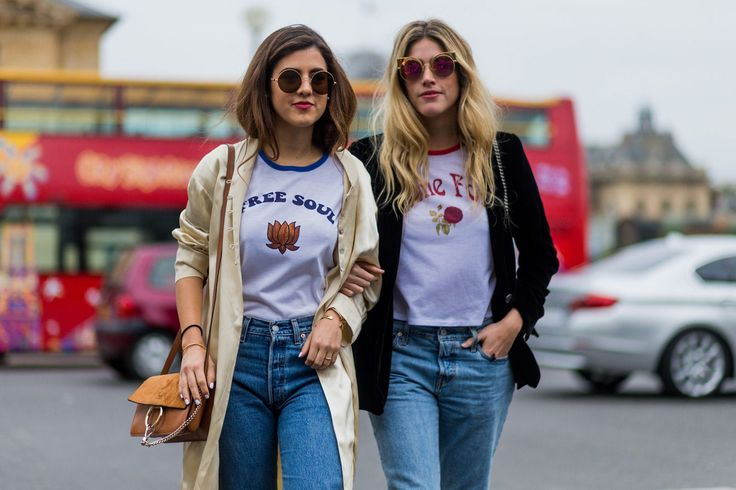 "30 Looks That Show The Many Sides Of ""French Girl"" Style #refinery29  http://www.refinery29.com/2016/10/125501/pfw-spring-2017-best-street-style-outfits#slide-26  #Twinning...."