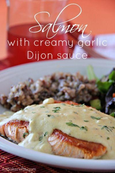 Pan Seared Salmon with Creamy Garlic Dijon Sauce | http://Bakerette.com