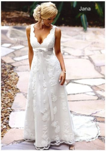 Sample Sale Gown:   BellaDonna - Jana  Corded lace empire line gown with ribbon under bust, wide lace straps and deep V neckline.  Ivory  size 12  RRP $1840 SALE PRICE $600