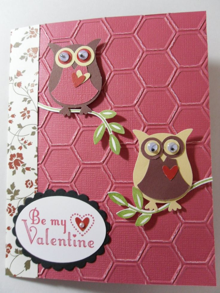 Owl Valentine Card  Using the new Honeycomb Embossing Folder from Stampin' Up and the Owl punch builder