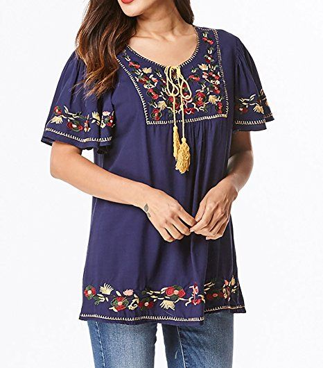 169042af401 Bohemian Mexican Floral Embroidered Tunic Top with Relaxed Short Ruffled  Sleeves (S M