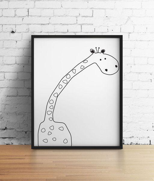 Żyrafa - Szare-Kropki - Plakaty dla dzieci