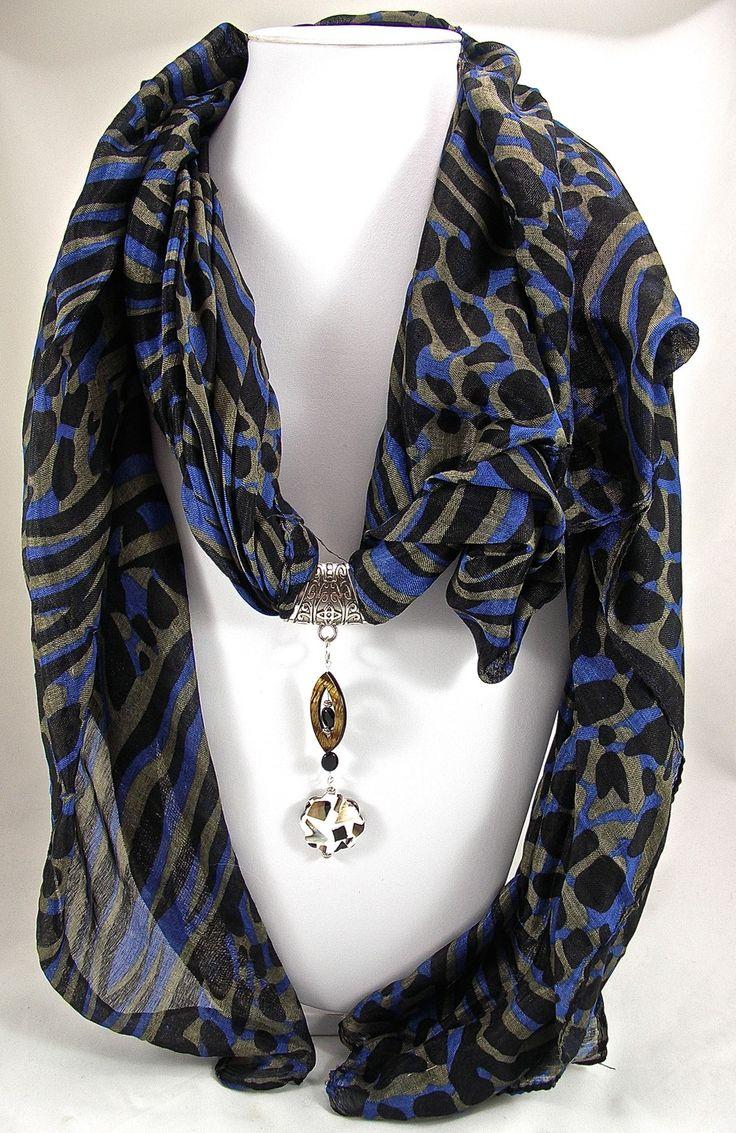 Bijou de foulard sur bélière perles nacre et onyx (avec foulard)- Réf. 291014-BJ-002 : Echarpe, foulard, cravate par envie-de-bijoux