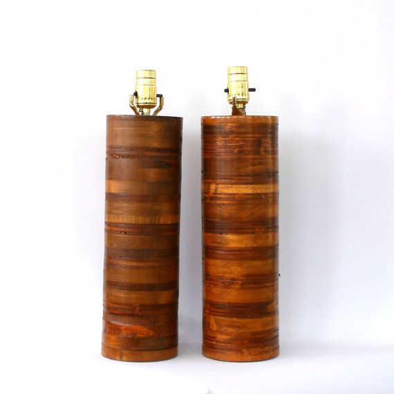 Pair Wood Lamps Mid Century. Danish Modern. Teak. Tall Wooden Lamps.  Cylinder. Round. Natural Home Decor