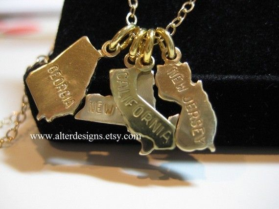 Silver State Necklace Going Away Gift Gold State by alterdesigns