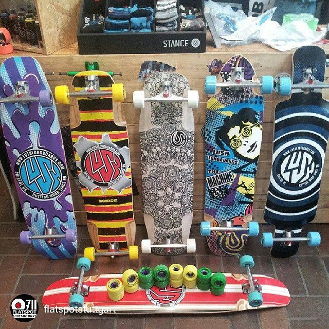 repost via @flatspotstuttgart If your in Stuttgart and wanna get your hands on some fresh Lush wood #flatspotsuttgart have you covered. #chopper3d #burner #grifter #machine80s #Symbian3D #legendstripe #lushlongboards #longboard #skate #skateboard