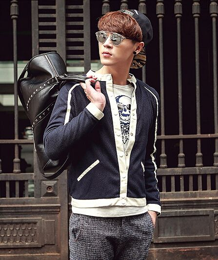 $55.24 -- Men Casual Jackets Hot Selling Jackets Color Block Zip up Long Sleeve Casual PU Splicing Navy Blue Jackets M-XXL Discount Online Shopping