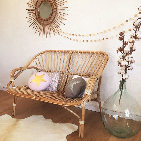 Mid century rattan bench seat rattan sofa mid by ChouetteFabrique