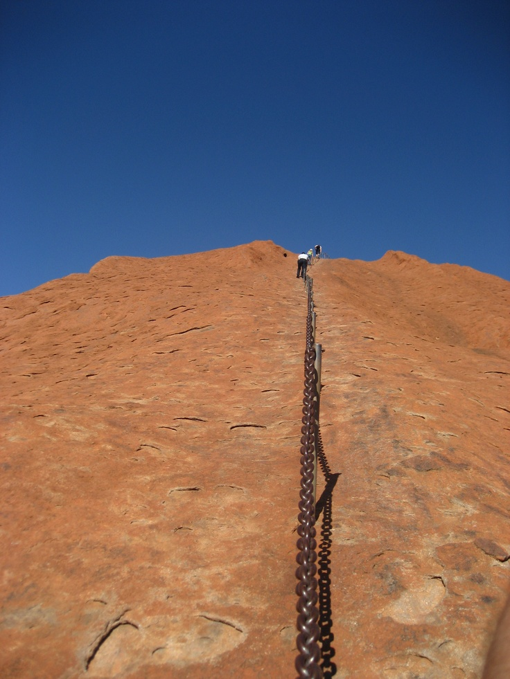 The view walking up Ayers Rock...pretty steep, but check out how low the chain is.  Get ready to stoop like you've never stooped before.  Your back will thank you ;P