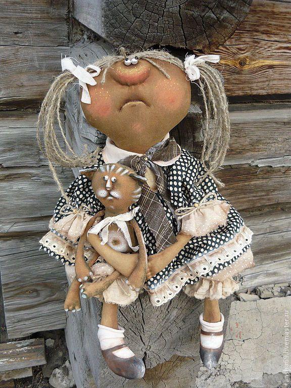 Купить Виснааа... - примитив, примитивная кукла, ароматизированная кукла, текстильная кукла, котик, ткань, синтепух