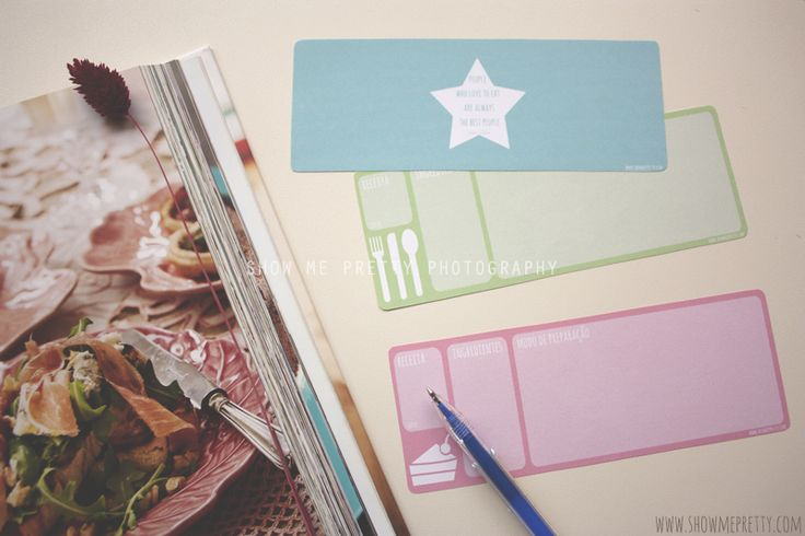 Organizing the meals: ready to print recipes' cards (3 themes, front and back)