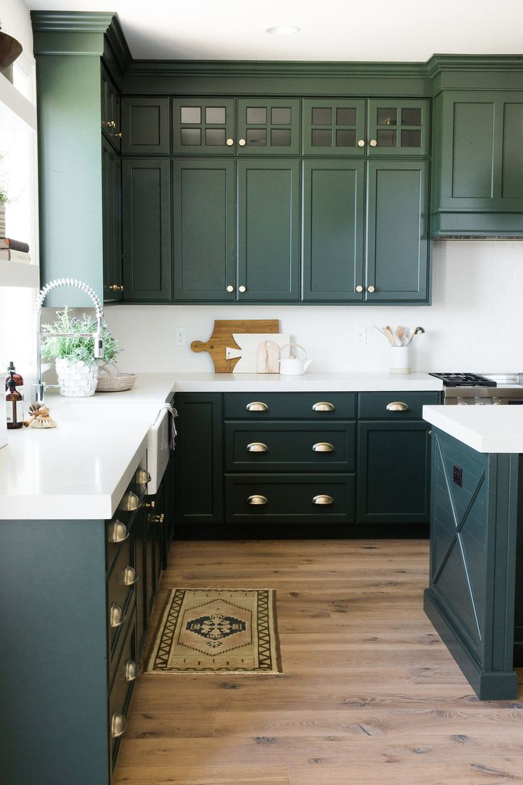 BEAUTIFUL dark green kitchen cabinets with white counters & wood floors! || Tour part one of our Parade Home! Studio McGee
