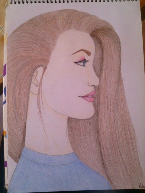 #drawing#girl#pretty#brownhair#pink#blue