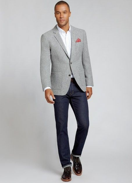 We're starting this list of men's grey blazers with a coat that's a bit darker, but still has the ability to be worn casual (i.e., with jeans, etc.).