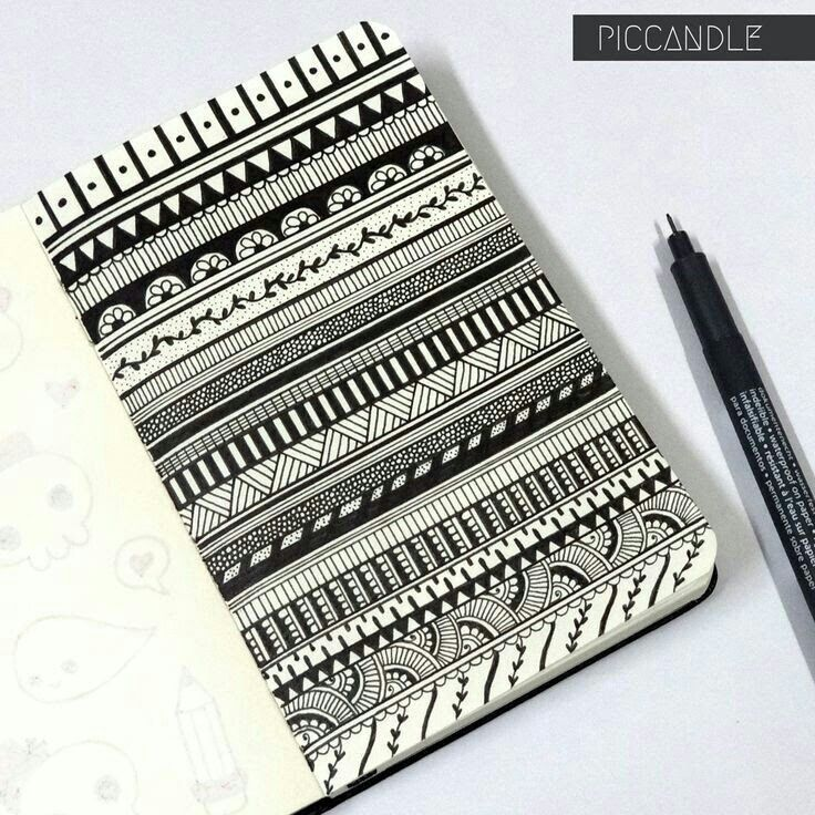 moleskin zentangle border design