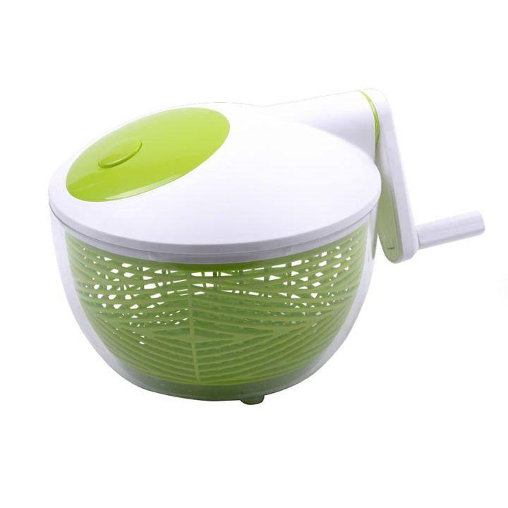 Centrifuga de verduras con bowl transparente de acrílico, posee un canastillo de PP que permite un fácil escurrimiento de los líquidos, tapa y manivela de ABS con botón de frenado.
