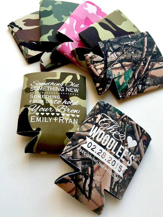 Camo Coozies Personalized Coozies Wedding Coozies by SipHipHooray