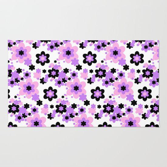 Pink Purple Black Floral Rug Pink Purple Duvet And Clocks