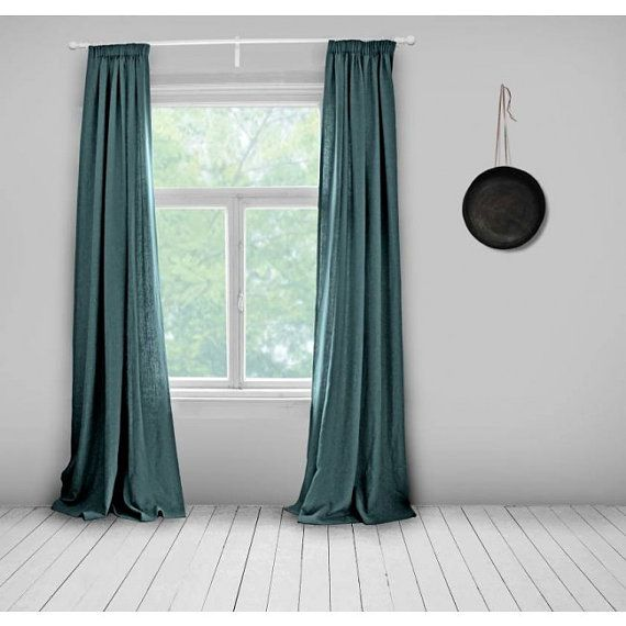 Curtains- Lined- Teal Green- Made to Measure Curtains- Bespoke Curtains- Linen Curtains- Teal Curtains- Large Curtains- Peacock Blue