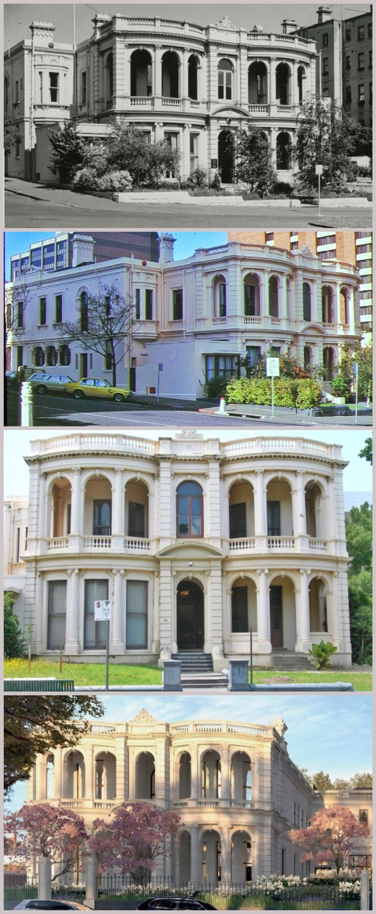 Mosspennoch, East Melbourne, is an Italianate mansion designed by Charles Webb and built in 1881 (ballroom added 1890) for James Liddell Purves, QC, MLA, who lived there until 1903. After his departure, it was used as a boarding house, divided into flats, occupied by the Red Cross, adapted as medical suites and then for 20 years remained unoccupied, rundown and vandalised. It is now being restored and converted into six luxury apartments.