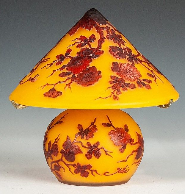 IMAGE: A contemporary Galle Cameo glass table lamp, bulbous base with floral, conical floral shade, yellow ground