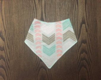 chevron herringbone bandana bib in mint and coral- Edit Listing - Etsy