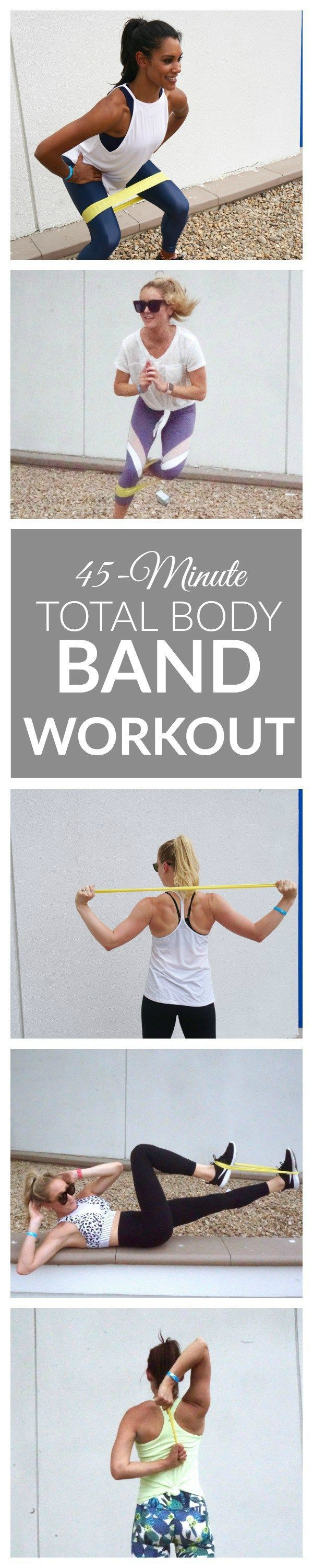 45-Minute Total Body Band Workout - this challenging band workout will tone and tighten all of your muscles using just a little exercise band. It's perfect for traveling and working out on-the-go! The 5-part circuit includes: arms workout, legs, workout, abs workout, cardio burst, and a stretching/cool-down.
