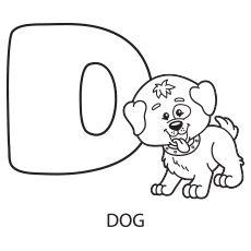 Coloring Sheet of Upper Case Alphabet Letter D for Dog
