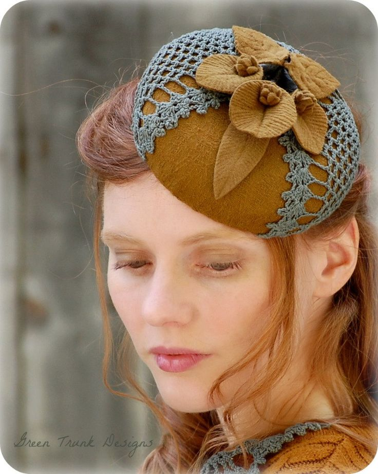 Autumn Fascinator Hat Vintage Style Pillbox Golden Brown Turquoise