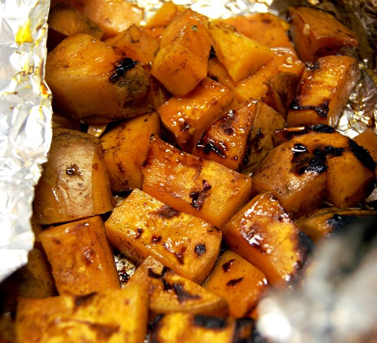 Spicy Cinnamon & Honey Roasted Sweet Potatoes - Tyler Florence recipe modified for a foil packet -- perfect for for grill or campfire.