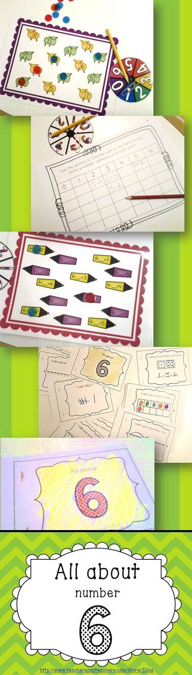 Hands on activities with number 6 - games, worksheets, booklet, poster, flashcards!