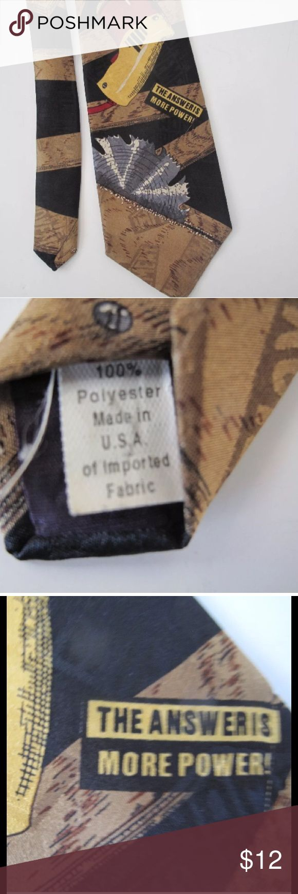 """Home Improvement TV Show Novelty Necktie Home Improvement Television Series Novely Necktie Made in USA 100% Polyester Brown, Black and Tan Features Drill and Saw Quote: """" The Answer is More Power!"""" 57 inches long, 3.75 inches wide Home Improvement Accessories Ties"""
